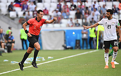 VOLGOGRAD, June 25, 2018  The referee awards a penalty to Saudi Arabia after Video Assistant Referee (VAR) review during the 2018 FIFA World Cup Group A match between Saudi Arabia and Egypt in Volgograd, Russia, June 25, 2018. Saudi Arabia won 2-1. (Credit Image: © Li Ga/Xinhua via ZUMA Wire)