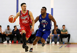 Roy Owen of Bristol Flyers runs with the ball past Michael Lyons of USA Select - Mandatory by-line: Robbie Stephenson/JMP - 08/09/2016 - BASKETBALL - SGS Arena - Bristol, England - Bristol Flyers v USA Select - Preseason Friendly