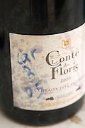 Carignan 2005 in a sampling bottle. Domaine Le Conte des Floris, Caux. Pezenas region. Languedoc. France. Europe. Bottle.