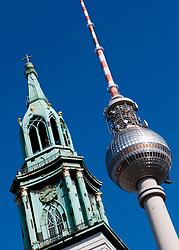 Television tower and St Marien church at Alexanderplatz Mitte in Berlin