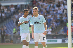 April 22, 2018 - Rome, Lazio, Italy - Ciro Immobile and Luis Nani celebreting the third goal versus Sampdoria.With two goal per time SS Lazio beat Sampdoria 4-0 (32'  Sergej Milinkovic, 43'  Stefan De Vrij, 85' Ciro Immobile, 88 Ciro Immobile) and make a step ahead for the fight for third place in Italian Serie A (Credit Image: © Paolo Pizzi/Pacific Press via ZUMA Wire)