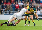 Australia full-back Jack Maddocks is held by England prop Will Stuart during the World Rugby U20 Championship  match England U20 -V- Australia U20 at The AJ Bell Stadium, Salford, Greater Manchester, England on June  15  2016, (Steve Flynn/Image of Sport)