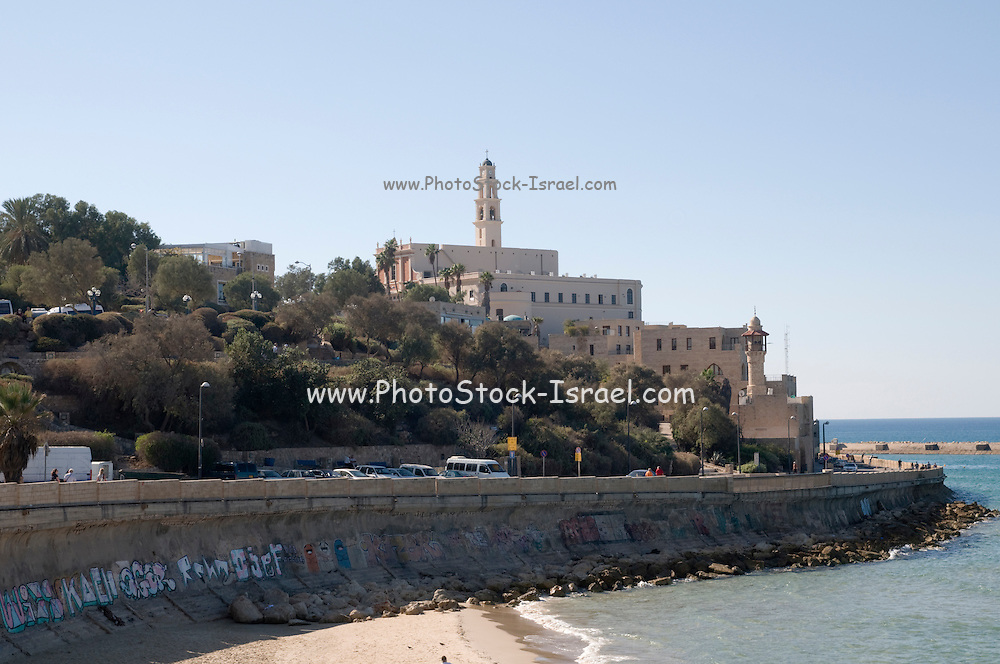 Israel, Jaffa as seen from the North the old port on the right and the belfry of the Church and Monastery of St Peter in the centre