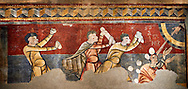 The Stoning of St. Stephen<br /> <br /> Circa 1100s<br /> <br /> Fresco Transfer to canvas<br /> <br /> From the Church of Saint Joan Boi, Val de Boi, High Ribagorca, Pyranese, Spain.<br /> <br /> Acquired in 1919-1923 by the National Art Museum of Catalonia, Barcelona.<br /> MNAC 15953<br /> <br /> The 12th century fresco of the Stoning of St. Stephen is one of the best scenes in the mural decoration Boi. The interest in narrative and dynamism are characteristic of a pictorial style of the Poitiers region of France, which is also linked with the rich Limousin painting of the late eleventh century. From the iconographic point of view, the scene is an early example of the interest of Romanesque art to the lives of saints. St Joan de Boi is a UNESCO World Hertiage Site. .<br /> <br /> Visit our SPAIN HISTORIC PLACES PHOTO COLLECTIONS for more photos to download or buy as wall art prints https://funkystock.photoshelter.com/gallery-collection/Pictures-Images-of-Spain-Spanish-Historical-Archaeology-Sites-Museum-Antiquities/C0000EUVhLC3Nbgw <br /> .<br /> Visit our MEDIEVAL PHOTO COLLECTIONS for more   photos  to download or buy as prints https://funkystock.photoshelter.com/gallery-collection/Medieval-Middle-Ages-Historic-Places-Arcaeological-Sites-Pictures-Images-of/C0000B5ZA54_WD0s
