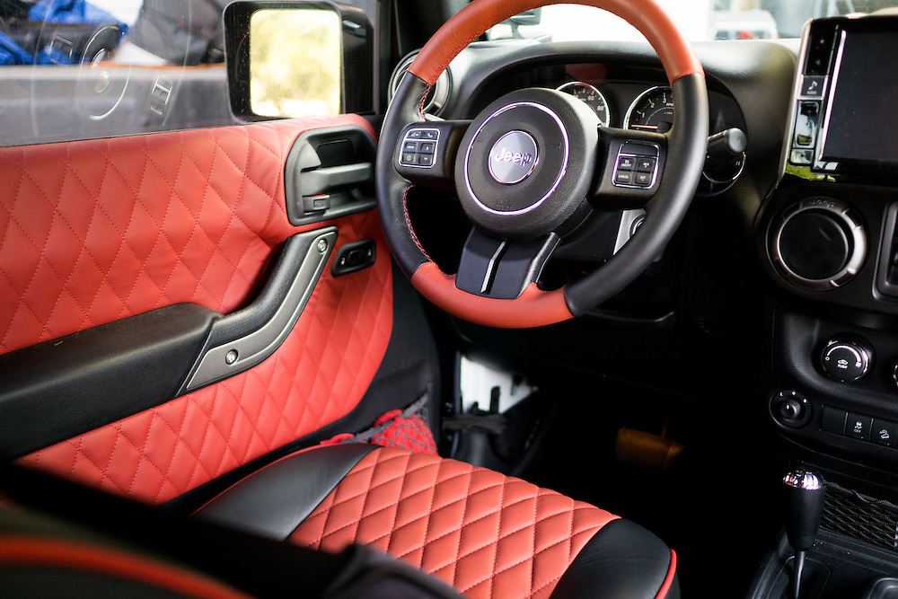 DORAL, FLORIDA, DECEMBER 11, 2015<br /> Customized interior of a Jeep Wrangler  which belongs to a professional athlete. The customization was done by The Auto Firm, owned by Alex Vega, which has a vast clientele of athletes and entertainers.<br /> (Photo by Angel Valentin/Freelance)