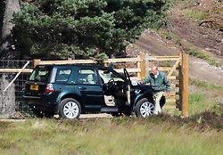 EXCLUSIVE A fit and healthy looking Prince Philip is seen opening a gate on the Loch Muick Estate, much to the amazement of a passing cyclist, 29 August 2018 (Pictures taken from a public road).<br />
