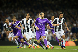 3 June 2017 - UEFA Champions League Final - Juventus v Real Madrid - Gareth Bale of Real Madrid makes a run as a free kick is delivered - Photo: Marc Atkins / Offside.