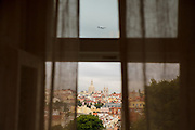 "The view from one of the rooms at hotel ""Casa das Janelas com Vista"", where the summit of Basilica da Estrela can be seen."