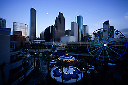 Houston, Texas skyline at night from the new Downtown Aquarium.