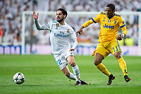"Real Madrid Francisco Roman ""Isco"" and Juventus Douglas Costa during Champion League match between Real Madrid and Juventus at Santiago Bernabeu Stadium in Madrid, Spain. April 11, 2018. (ALTERPHOTOS/Borja B.Hojas)"