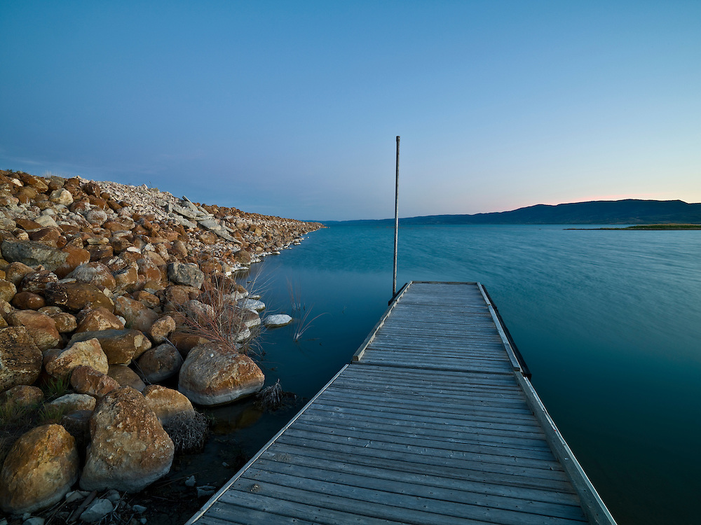 Limited Editions of 8<br /> Last light illuminated a floating dock at the Idaho end of Bear Lake in the South Eastern portion of the state which adjoins Utah to the South. 0932