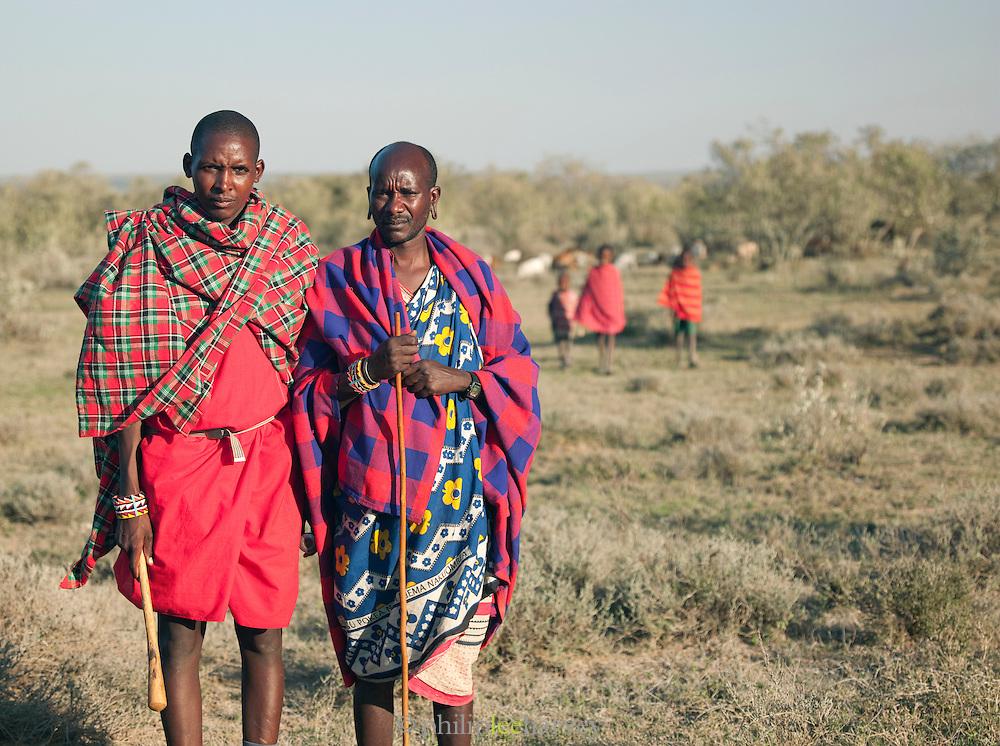 Maasai tribesmen, Oyaratta village near Maasai Mara National Park, Kenya