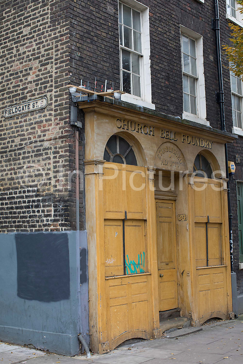 The Whitechapel Bell Foundry on the 9th November 2019 in East London in the United Kingdom. Whitechapel Bell Foundry closed in June 2017, having cast bells in the East End for almost 450 years. Campaigning with East End Preservation Society, directly petitioning Tower Hamlets Council to preserve the foundry on the grounds of its great historical importance. Operating in Whitechapel from the 1570s — and from its current location since the mid 1740s — the foundry produced world famous bells, including Big Ben, 1858, and the Liberty Bell. Before it shut its doors, Whitechapel was one of two remaining bell foundries in the UK. The site is now owned by property developer, Raycliff, which wants to turn the site into a boutique Hotel.