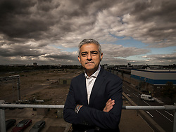 © Licensed to London News Pictures. 06/10/2016. LONDON, UK.  Sadiq Khan, London Mayor at the launch of a feasibility study in partnership with Film London, the London Local Enterprise Panel and the London Borough of Barking and Dagenham, to investigate the cost benefits of developing a new film studio on a 17-acre site in Dagenham East, around 10 miles from Soho.Photo credit: ANDREW BAKER/LNP