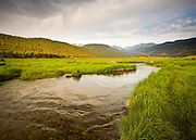 Early morning light warms a valley stream high in the Rocky Mountains.
