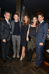 Left to right, STEPHEN URQUHART, EDDIE REDMAYNE, CINDY CRAWFORD, CLAIRE FORLANI and DOUGRAY SCOTT at the OMEGA VIP dinner hosted by Cindy Crawford and OMEGA President Mr. Stephen Urquhart held at aqua shard', Level 31, The Shard, 31 St Thomas Street, London, SE1 9RY on 10th December 2014.