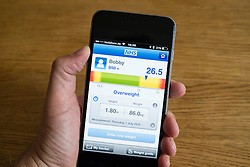 Smart phone app for measuring BMI body mass index to determine if one is overweight or not
