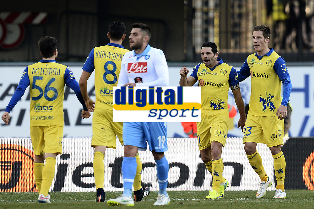 esultanza Chievo Verona autogol Britos Goal Celebration <br /> Verona 01-02-2015 Stadio Bentegodi Football Calcio Serie A 2014/2015 Chievo Verona - Napoli foto Image Sport / Insidefoto