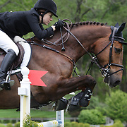 NORTH SALEM, NEW YORK - May 15: Katherine Dinan, USA, riding Dougie Douglas, in action during The $50,000 Old Salem Farm Grand Prix presented by The Kincade Group at the Old Salem Farm Spring Horse Show on May 15, 2016 in North Salem. (Photo by Tim Clayton/Corbis via Getty Images)