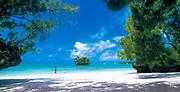 Prise de vues réalisée pour destination Iles Loyautés d'une jeune femme marchant dans l'eau sur la plage de Luengoni située à Lifou ( Drehu ) en province des iles loyautés de la Nouvelle Calédonie.