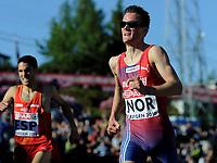 Friidrett<br /> 19. juni 2010<br /> Fana Stadion , Bergen , Norway<br /> European team championships<br /> 1500 m Men<br /> Diego Ruiz (L) , ESP<br /> Henrik Ingebrigtsen (R) , NOR<br /> Foto : Astrid M. Nordhaug