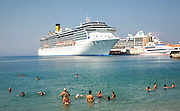 Costa Mediterrania cruise ship, Rhodes town, Rhodes, Greece
