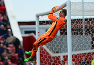 Adrian , the  West Ham Utd goalkeeper swings on his crossbar. Premier league match, Stoke City v West Ham Utd at the Bet365 Stadium in Stoke on Trent, Staffs on Saturday 29th April 2017.<br /> pic by Bradley Collyer, Andrew Orchard sports photography.