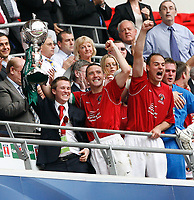 Photo: Steve Bond/Richard Lane Photography. <br />Ebbsfleet United v Torquay United. The FA Carlsberg Trophy Final. 10/05/2008. Paul McCarthy with the trophy