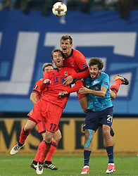 September 28, 2017 - Saint Petersburg, Russia - David Zurutuza of FC Real Sociedad (L) and Aleksandr Erokhin of FC Zenit Saint Petersburg vie for the ball during the UEFA Europa League Group L football match between FC Zenit Saint Petersburg and FC Real Sociedad at Saint Petersburg Stadium on September 28, 2017 in St.Petersburg, Russia. (Credit Image: © Igor Russak/NurPhoto via ZUMA Press)