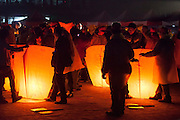 Lanterns ready for release. Pingxi Sky Lanterns Release at Jingtong, Taiwan