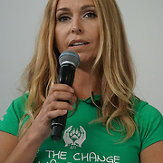 London, England, UK. 20th October 2017.  Anneka Svenska talk How you can use your position to become a positive role model for veganism at the Vegen Celebrity Zone.