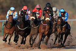 Lads Orders ridden by Joe Fanning (centre right) goes on to win The Ladbrokes Home Of The Odds boost Nursery Handicap Stakes at Southwell Racecourse.