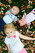 Twins Harry and Eloise Morrison, one month, are photographed during a portrait session near their southwest suburban Chicago home with sister Frances, 3. May 6, 2013. © 2013 Brian J. Morowczynski ViaPhotos