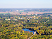 Aerial view of Lone Rock, Wisconsin and the Wisconsin River, Richland County.