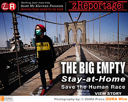 Story of the Week zReportage.com: Launched TUESDAY March 24, 2020 on www.zReportage.com Story #729: The BIG EMPTY: Stay-at-Home, Save the Human Race! The Brooklyn Bridge opened May 24, 1883, connecting Manhattan and Brooklyn Boroughs of Metropolitian New York City, one of the biggest cities in the world for last two centuries. 6,000+ pedestrians and 3,000+ cyclists cross it on a average day. As the Stay-at-Home edicts have come down to protect spread of coronavirus COVID-19, this lone woman has it mostly to herself. Wearing a medical mask for protection and a red wool cap to stay warm, on a brisk spring day and a hoodie with NEW YORK largely emblazon on it, sporting a symbolic yellow cautionary background. Tourist hotspots and high population destiny workspaces public spaces around the world are deserted due to COVID-19, with several major cities under total lockdown. In cities not under lockdown, social distancing measures are being heavily encouraged. ZUMA Press sent its photojournalists out to span the globe and Tell This Story That Needed to be Told: THE NEW NORMAL: A Story of Daily Life in Pandemic Times. ZUMA Press photographers contributing to this global coverage reportage series, are among others: Adrien Vautier, Alberto Pezzali, Andy Barton, Anton Novoderezhkin, Aristides Vafeiadaki, Armin Weigel, Bernd Thissen, Claudio Furlan, David Crane, David Powell, Dirk Shadd, Dirk Waem, Gene Blevins, Giuseppe Fama, Greg Lovett, Jeff Gritchen, Joel Marklund, John Nacion, Kuba Stezycki, Laporta Salvatore, Lev Radin, Marechal Aurore, Markus Scholz, Mirco Toniolo, Naoki Nishimura, Paul Kuroda, Petit Francis, Rod Lamkey, Scott Varley, Valery Sharifulin, Vanessa Carvalho, Zahim Mohd. (Credit THIS Image: © John Nacion Starmax/Newscom via ZUMA Press)