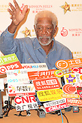 Morgan Freeman attends a press conference after watching a golf game at Mission Hills World Celebrity Pro-Am in Haikou, Hainan, China on 25th October, 2014.<br /> ©Exclusivepix