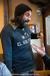 El Solitario's David Borras at lunch during a Tokyo shop tour after Mooneyes. Japan. December 8, 2015.  Photography ©2015 Michael Lichter.