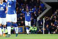 Romelu Lukaku of Everton celebrates after scoring his teams 2nd goal. Barclays Premier League match, Everton v Aston Villa at Goodison Park in Liverpool on Saturday 21st November 2015.<br /> pic by Chris Stading, Andrew Orchard sports photography.