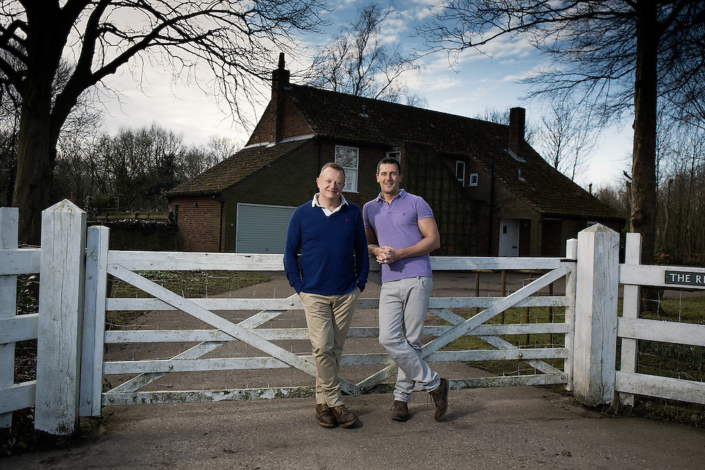 (Blue Rugby top) Composer Patrick Hawes & partner Andy Berry at the home called The Rectory on the Norfolk Broads Nr Great Yarmouth on 19 February 2015.<br /> <br /> <br /> Photos by Ki Price