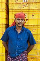 Inde, Etat du Kerala, Calicut ou kozhikode, port de peche // India, Kerala state, Calicut or kozhikode, fishing harbour