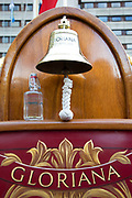 The bottle of water drawn from the source of the Thames aboard the Royal Barge Gloriana. Totally Thames takes place over the whole month in September, combining arts, cultural and river events presented by Thames Festival Trust throughout the 42-mile stretch of the River Thames in London, UK.