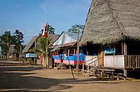 LORETO, PERU - CIRCA OCTOBER 2015:  Main Street in the Village of Puerto Miguel, in the Yarapa river in the Peruvian Amazon.