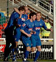 Photo: Ian Hebden.<br />Rushden & Diamonds v Grimsby Town. Coca Cola League 2. 04/03/2006.<br />Ben Futcher (L) celebrates putting Grimsby in front.