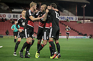 Nottingham Forest players celebrate having scored during the EFL Sky Bet Championship match between Barnsley and Nottingham Forest at Oakwell, Barnsley, England on 25 November 2016. Photo by Mark P Doherty.