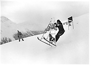 Hugo rittson-Thomas on a stepladder. Dangerous Sports Club ski race. St. Moritz. 1983.<br />© Copyright Photograph by Dafydd Jones<br />66 Stockwell Park Rd. London SW9 0DA<br />Tel 0171 733 0108
