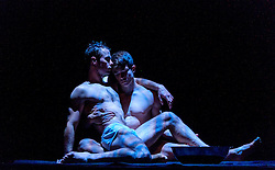 Edinburgh, Scotland, UK 18th August 2016 ::  The cast of Scottish Ballet perform Angelin Preljocaj's MC 14/22 (Ceci est mon corps) a hymn to the male body, a meeting of the spiritual and the carnal, a glorification of masculinity and a condemnation of force. Performed by 12 male dancers representing the Apostles of Jesus, this powerfully sensual work takes as its starting point the Last Supper as related in the Gospel of St Mark, chapter 14, verse 22 as Christ breaks bread and announces to his disciples: 'Take it; this is my body.'  Pictured: Christopher Harrison and Javier Andreu<br /> <br /> (c) Andrew Wilson   Edinburgh Elite media