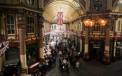 © Licensed to London News Pictures. 23/04/2015. <br /> LONDON, UK. Londoners celebrate Saint George's Day today in Leadenhall market with performances from morris dancers. The market is decorated with flags and bunting for the occasion, London, Thursday 23 April 2015. Photo credit : Hannah McKay/LNP
