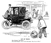 """Out of Reach. Boy on pavement. """"Whip behind!"""" Boy on motor Brougham. """"Yah! He can't whip behind. He ain't got no whip!"""""""