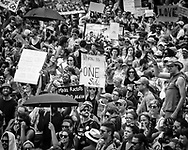 """New Orleans, Aug 19, 2017, """"Take Em Down NOLA"""" held a rally and march in solidarity with Charlottesville<br /> to show opposition to the white-supremacist protests and attacks. The group called for the removal of all signs of white supremacy that remain in New Orleans. <br /> After the march they rallied in front of Jackson Square, which the police closed off before their arrival."""