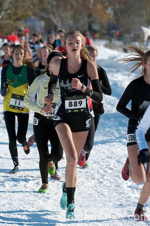 Riley Fowler, NXN Northwest girls championship race, November 15, 2014 at Eagle Island State Park, Eagle, Idaho.